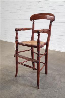 Sale 9162 - Lot 1083 - Victorian Childs High Chair, with rail back, caned seat & turned splayed legs  (height 88cm)