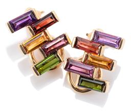 Sale 9160 - Lot 316 - A PAIR OF 14CT GOLD GEMSET CLIP EARRINGS; each set with baguette cut green tourmaline, purple and red garnets, citrine and amethyst,...