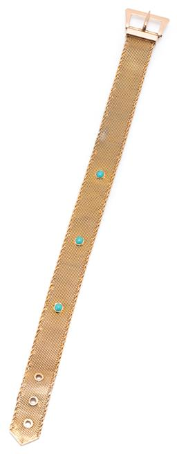 Sale 9164J - Lot 448 - A VINTAGE 9CT GOLD MESH STONE SET BRACELET; 12mm wide mesh with rope twist edges collet set with 3 cabochon turquoise to buckle clas...