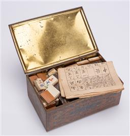 Sale 9185E - Lot 94 - A collection of mahjong pieces in tin case, case Width 19.5cm