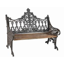 Sale 9216S - Lot 23 - A cast iron bench seat in the Victorian style with timber seat, Height 95cm x Width 120cm x Depth 54cm