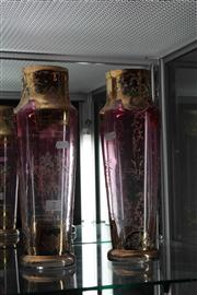 Sale 8022 - Lot 7 - Pair of Victorian Gilded and Enamelled Tall Cranberry Glass Vases