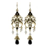 Sale 8134B - Lot 315 - A PAIR OF NOUVEAU STYLE 9CT GOLD DROP EARRINGS; filigree work set with pearls and onyx. Length 50mm.