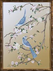 Sale 8342A - Lot 122 - Oriental school, Birds and Bees Amongst the Blossom Trees, giclee print in faux bamboo gilded frame, 78 x 58cm inc. framing