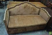Sale 8500 - Lot 1049 - Brown Velvet Knole Settee, with studded camel back, with fold down sides (finials to come in)