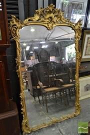 Sale 8500 - Lot 1021 - Good Rococo Style Carved and Gilt Over Mantle Mirror with Pierced Crest (188 x 116cm)