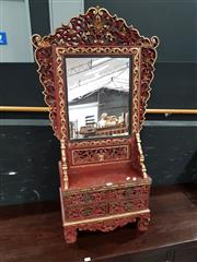 Sale 8680 - Lot 1005 - Ornately Carved Javanese Mirrored Back Dresser