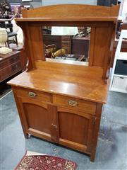 Sale 8740 - Lot 1127 - Timber Mirrored Back Dresser with Two Drawers & Doors