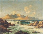 Sale 8764A - Lot 5091 - T. Stafford Smith - Table Mountain from Robben Island, J Bay 34 x 44cm