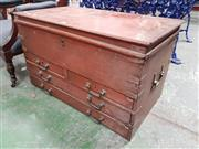 Sale 8792 - Lot 1056 - A Victorian painted oak carpenters chest, with hinged top, four drawers to the front and brass plaque R.H. York, 1876, with some tool.
