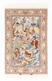 Sale 8800C - Lot 166 - An Isfahan Super Fine 60% Pure Silk / 40% Wool Pile On A Pure Silk Foundation, 108 x 170cm