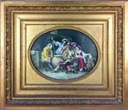 Sale 8995H - Lot 91 - A C19th hand painted oval tile Tavern Tactics in a gilt frame, tile size 27cm x 36cm, frame size 56cm x 65cm