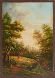 Sale 9087H - Lot 285 - An oil painting of a wooded landscape. 70cm height, 80cm width