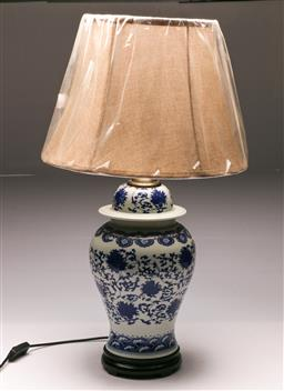 Sale 9119 - Lot 168 - A porcelain blue and white Chinese table H: 71cm (with shade)