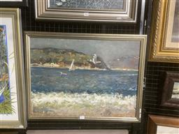 Sale 9123 - Lot 2033 - Artist Unknown Boat Sailing into the Harbour oil on board 50 x 66cm (frame), unsigned. Provenance: Estate of Dora Toovey -