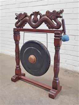 Sale 9134 - Lot 1498 - Chinese gong on timber stand (h94 x w70 x d23cm)