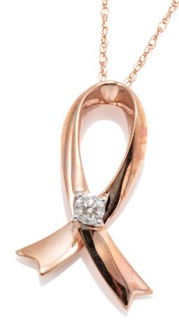 Sale 9156J - Lot 520 - A 10CT ROSE GOLD DIAMOND PENDANT NECKLACE; featuring an awareness ribbon pendant set with an approx. 0.085ct round brilliant cut dia...