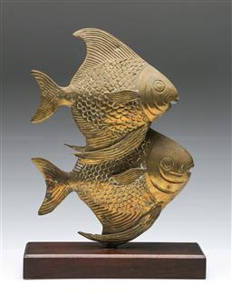 Sale 9156 - Lot 11 - Figural brass sculpture of two fish (H:36.5cm)