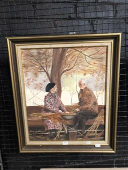 Sale 9172 - Lot 2031 - Marie Hatton Contentment in Autumn, 1981, oil on board , frame: 55  c47 cm, signed and dated lower left,