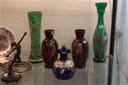 Sale 8022 - Lot 56 - Assorted Antique Gilded and Enamelled Glasses Vases in Ruby, Cobalt and Green