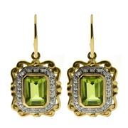 Sale 8134B - Lot 395 - A PAIR OF 9CT GOLD PLAQUE EARRINGS; each set with a step cut peridot to a surround of round brilliant cut diamonds.
