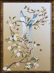 Sale 8342A - Lot 123 - Oriental school, Birds and Bees Amongst the Blossum Trees, giclee print in faux bamboo gilded frame, 78 x 58cm inc. framing