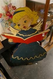 Sale 8362 - Lot 2340 - Painted Timber Girl Wall Hanging