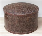 Sale 8902H - Lot 45 - A cylindrical leather clad and studded circular container, Height 23cm, diameter 40cm