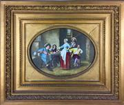 Sale 8995H - Lot 92 - A C19th hand painted oval tile Killing time with a bit of Wine in a gilt frame, tile size 27cm x 36cm, frame size 56cm x 65cm