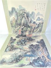 Sale 8909S - Lot 654 - Large Hand Painted Chinese Scroll Featuring Village Amongst Mountains