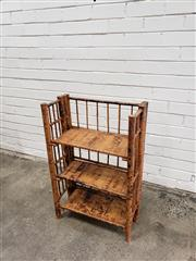 Sale 9059 - Lot 1091 - Tiger Cane Three Tier Collapsible Open Shelf (H:80 x W:52 x D:26cm)