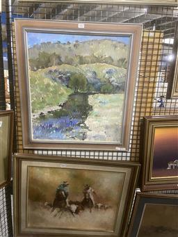 Sale 9123 - Lot 2062 - Vicki Powys Spring Valley Scene and Creek, 1975 oil on board, 60 x 55cm (frame) signed and dated -