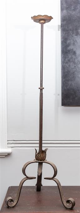 Sale 9160H - Lot 83 - A tall ecclesiastical iron tripod candlestick, with frilled drip pan, Height 133cm