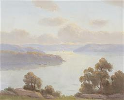 Sale 9189A - Lot 5022 - ERIK LANGKER (1898 - 1982) 'Evening At Pittwater' oil on board 29.5 x 36.5 cm (frame: 45 x 53 x 3 cm) signed lower right