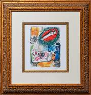 Sale 8282A - Lot 96 - Marc Chagall (1887-1985) After. - Untitled (Lovers Over Paris) 26 x 18.5cm