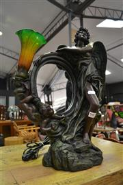 Sale 8138 - Lot 987 - Bronze Style Table Lamp Depicting Angel with Mirror