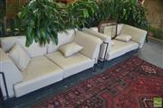 Sale 8331 - Lot 1303 - Pair of Metal Framed  2 1/2 Seater Lounges
