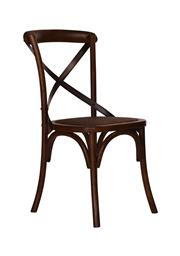 Sale 8473A - Lot 88 - A set of 6 dark timber cross back dining chairs with rubbed metal strap and rattan seat, H 88 x W 49 x D 52cm