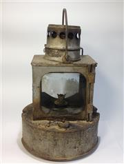 Sale 8579 - Lot 68 - An antique kerosene railway lamp with wear commensurate with age and untested, H 28 x W 18cm