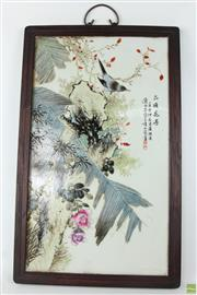 Sale 8581 - Lot 81 - Chinese Porcelain Plaque with Floral and Bird Scene ( H 60cm x W 37cm)