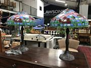 Sale 8787 - Lot 1090 - Pair of Impressive Leadlight Shade Table Lamps