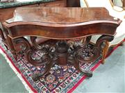 Sale 8831 - Lot 1080 - Victorian Burr Walnut Fold Over Card Table (certificate in office)