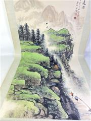 Sale 8909S - Lot 651 - Large Hand Painted Chinese Scroll Featuring Hikers Among Hills And Mountains
