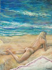 Sale 8938A - Lot 5076 - Wolfgang Grasse (1930 - 2008) - Nude on a Beach 31 x 23 cm