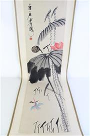 Sale 8989F - Lot 645 - Lotus And Kingfisher Chinese Scroll