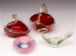 Sale 9098 - Lot 203 - Collection of Four Glass Dishes incl. 2 Swan Form Examples