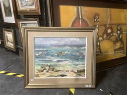 Sale 9123 - Lot 2093 - Russell Hamilton (1950 - 2015) Beach Scene and Moored Boats 60 x 70cm (frame) signed -