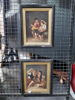 Sale 9127 - Lot 2014 - Artist Unknown (two works) Children Eating Fruit, oil on board, frame: 28 x 23 cm each, both signed lower right