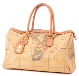 Sale 9149 - Lot 564 - ALVIERO MARTINI 1A CLASSE GEO HANDBAG; coated canvas with signature map print and tan rolled leather double handles and trimmings, g...