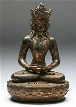 Sale 9164 - Lot 32 - Bronze Chinese Buddha Seated On Lotus Base (H: 46cm)